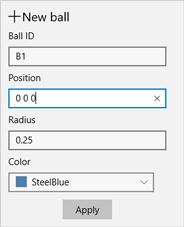 Popup window to append a new ball item to the model.
